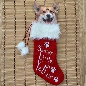 Christmas Sock Santa Little Yelper Bag Hanging New